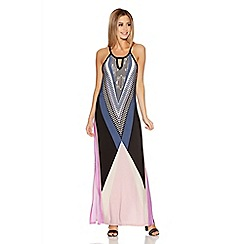 Quiz - Black And Pink Tribal Print Maxi Dress