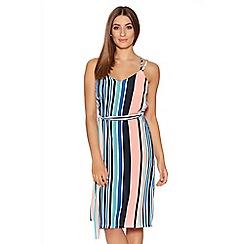 Quiz - Multicoloured Crepe Stripe Tie Waist Dress