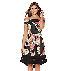Quiz - Black Floral Print Bardot Dip Hem Dress