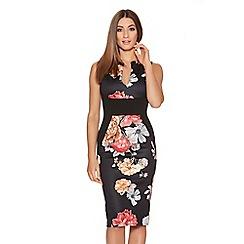 Quiz - Black And Red Flower Print Midi Dress