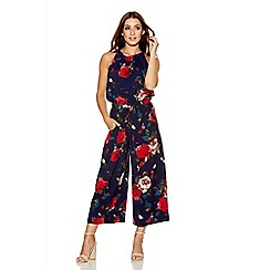Quiz - Navy And Red Crepe Flower Culotte Jumpsuit