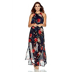Quiz - Navy And Red Chiffon Floral Maxi Dress