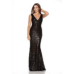Quiz - Black Scallop Sequin Fishtail Maxi Dress