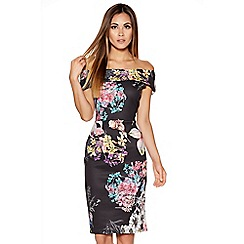 Quiz - Black Flower Print Midi Dress