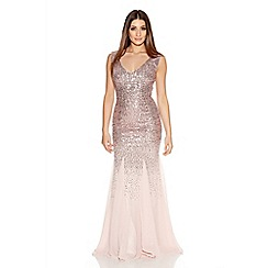 Quiz - Pale Pink V Neck Chiffon Fishtail Maxi Dress