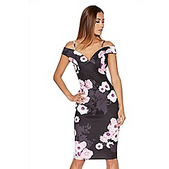 Quiz - Black And Pink Flower Print Bardot Midi Dress