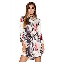 Quiz - Grey And Pink Satin Flower Print Shirt Dress