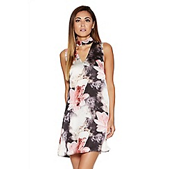 Quiz - Grey And Pink Satin Floral Turtle Neck Swing Dress
