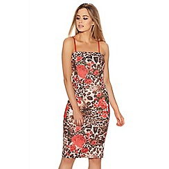 Quiz - Red And Leopard Print Strappy Bodycon Dress