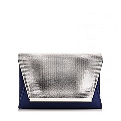 Quiz - Navy Satin Diamante Envelope Bag