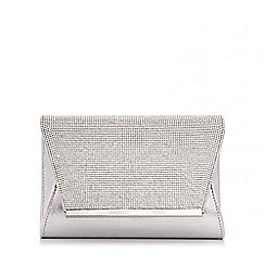 Quiz - Silver Satin Diamante Envelope Bag