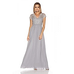 Quiz - Grey And Silver Embroidered Chiffon Maxi Dress