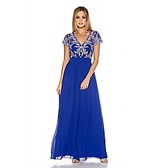 Quiz - Royal Blue And Silver Embroidered Chiffon Maxi Dress