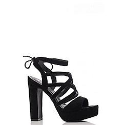 Quiz - Black Faux Suede Strap Heel Shoes