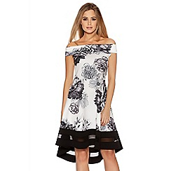 Quiz - Cream Floral Print Bardot Dip Hem Dress