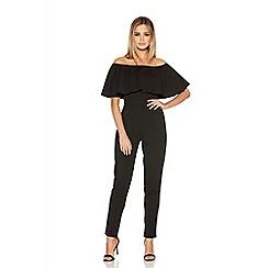 Quiz - Black Bardot Frill Tight Leg Jumpsuit