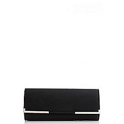 Quiz - Black Gold Plate Clutch Bag