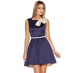 Quiz - Navy And Cream Flower Dip Hem Dress
