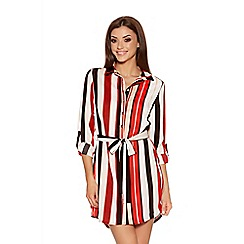 Quiz - Red And Black Crepe Stripe Shirt Dress