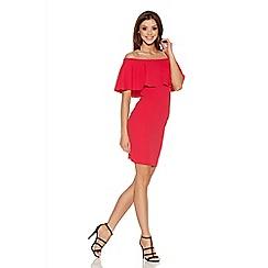 Quiz - Red Crepe Big Frill Bardot Dress