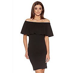 Quiz - Black Crepe Big Frill Bardot Dress