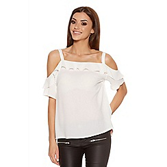 Quiz - Cream Crepe Strap Frill Cold Shoulder Top