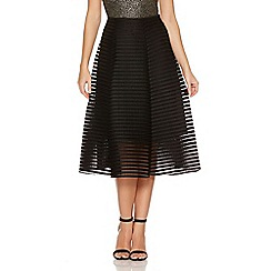 Quiz - Black Mesh Ribbed Midi Skirt