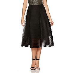 Quiz - Black Mesh Ribbed Midi Skirt