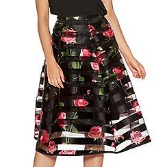 Quiz - Black Mesh Floral Print Flare Midi Skirt
