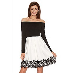 Quiz - Black Contrast Crochet Trim Skater Dress