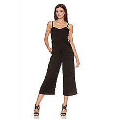 Quiz - Black Crepe Tie Belt Culotte Jumpsuit