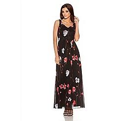 Quiz - Black And Red Chiffon Flower Maxi Dress