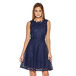 Quiz - Navy Cut Out Lace Trim Skater Dress