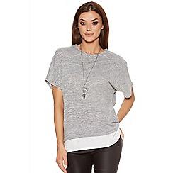 Quiz - Grey Light Knit Chiffon Hem Necklace Top