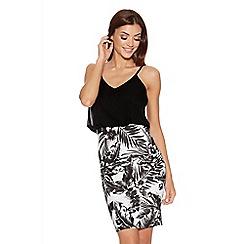 Quiz - Cream And Black Tropical Chiffon Dress