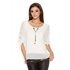 Quiz - Cream Chiffon 3/4 Sleeve Necklace Top