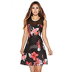 Quiz - Black And Red Floral Print Mesh Flippy Dress
