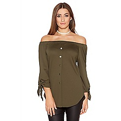 Quiz - Khaki Crepe Bardot Button Front Top