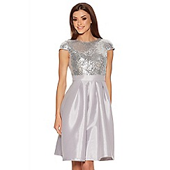 Quiz - Silver Sequin Cap Sleeve Satin Dress
