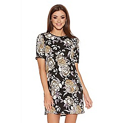 Quiz - Black White And Mustard Crepe Floral Tunic