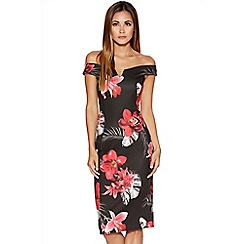 Quiz - Black And Red Floral Bardot Midi Dress