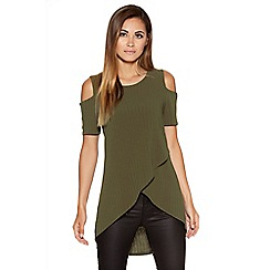 Quiz - Khaki Ribbed Knit Cold Shoulder Top