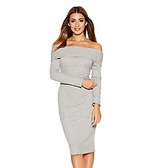 Quiz - Grey Knit Ribbed Bardot Long Sleeve Midi Dress