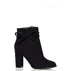 Quiz - Black Faux Suede Bow Ankle Boots