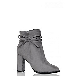 Quiz - Grey Faux Suede Bow Ankle Boots