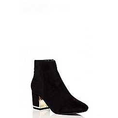Quiz - Black Faux Suede Block Heel Ankle Boots