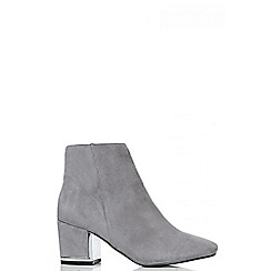Quiz - Grey Faux Suede Block Heel Ankle Boots