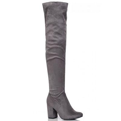 Quiz Grey Thigh High Stretch Block Heel Boots