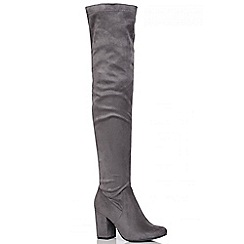 Quiz - Grey Thigh High Stretch Block Heel Boots