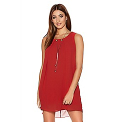 Quiz - Red Chiffon Necklace Tunic Dress